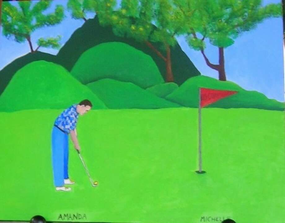 "Amanda Mickowski and Michelle Nguyen, two young patients at M.D. Anderson Pediatric Cancer Center in Houston, painted the ""Los Compadres Golfers,"" to be auctioned at the Los Compadres Golf Tournament in 2004. The painting has been auctioned at the tournament each year for 10 years for a one year ""custodianship"" by the buyer. This was the last year. Later this year, the painting will be donated to The Pediatric Wing at M.D. Anderson, to hang proudly in honor of Amanda and Michelle and the many brave children who have passed through the doors of the hospital."