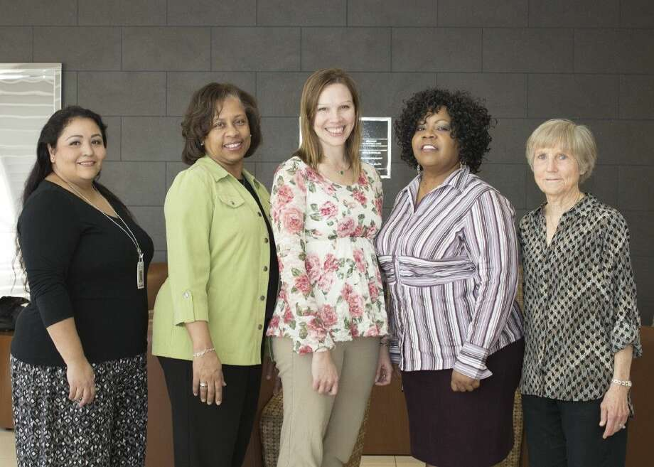 LSC-Montgomery recently honored 5 employees with Staff Excellence Awards for their outstanding service to the college. Pictured from left to right are April Garcia, Karen Jones, Brandy Beucler, Cynthia Maclin and Nancy Prejean.