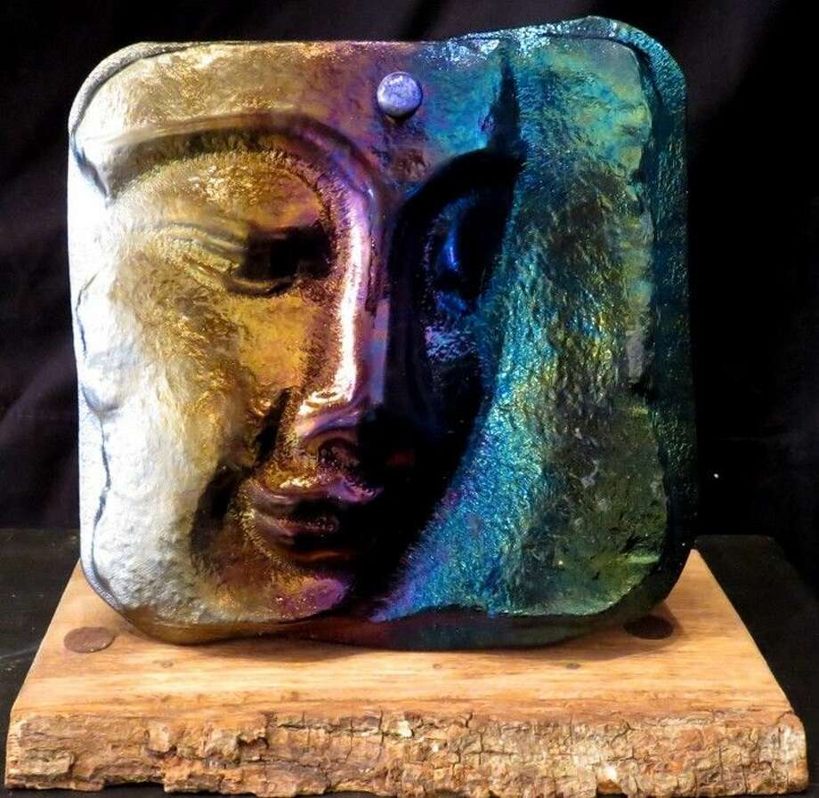 """A fused glass piece by Jack DeNina, titled """"Buddha"""" a first-place winner in the Sculpture division at CAL's March 7 competiton, which is currently on display at the Gallery at the Madeley Building."""