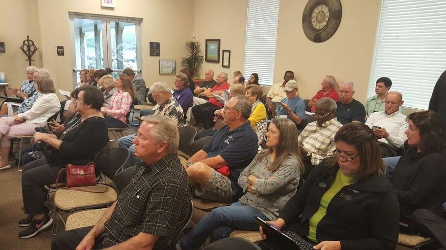 Several members of the Lake Conroe Communities Network showed up at the LSGCD board meeting Tuesday in support of a petition. Photo: Submitted Photo