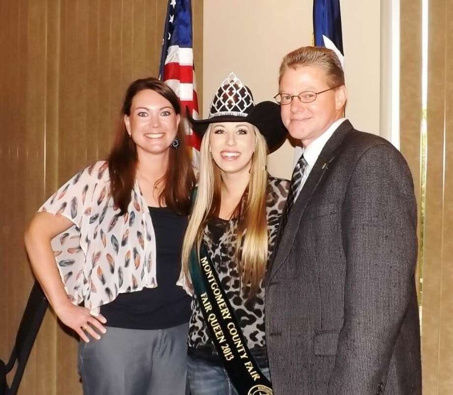 """The Conroe Noon Lions Club and President Wes Carr, right, welcomed their pretty speakers at the Wednesday club meeting; Fair Manager Julie Bass, left, and 2013 Montgomery County Fair Queen Emily Strozier gave the club an informative talk about all things """"fair."""""""
