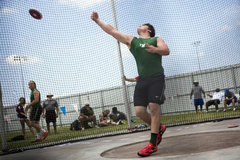 The Woodlands' Adrian Piperi completed the sweep of the shot put and discus events on Wednesday in the USATF World Youth Trials in Napierville, Illinois. Photo: ANDREW BUCKLEY