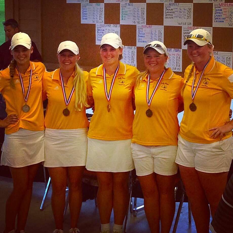 The Montgomery girls golf team finished third at the Region II-6A tournament on Thursday in Waco. Hailee Cooper, second from left, won the tournament. Photo: Submitted