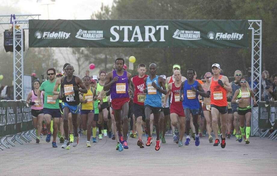 Elite runners competitors during The Woodlands Marathon Saturday.