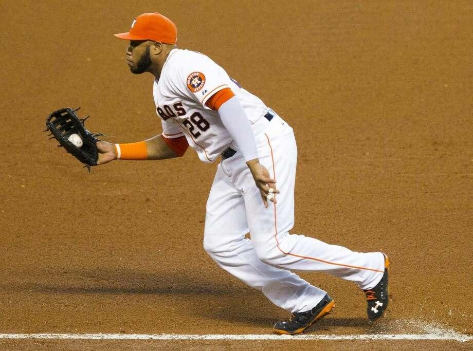 Jon Singleton, of the Houston Astros, fields a ball while playing first base last season. Photo: Jason Fochtman
