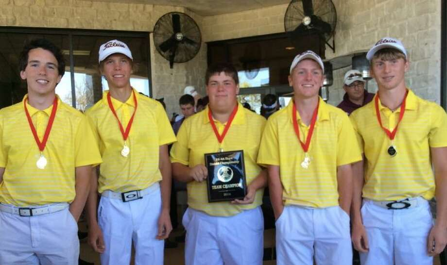 The Montgomery golf team captured the District 18-4A championship on Tuesday in College Station. From left, Justin Massengale, Dalton Joyce, Peyton Bartee, Cameron Holzshu and Nick Gennuso.
