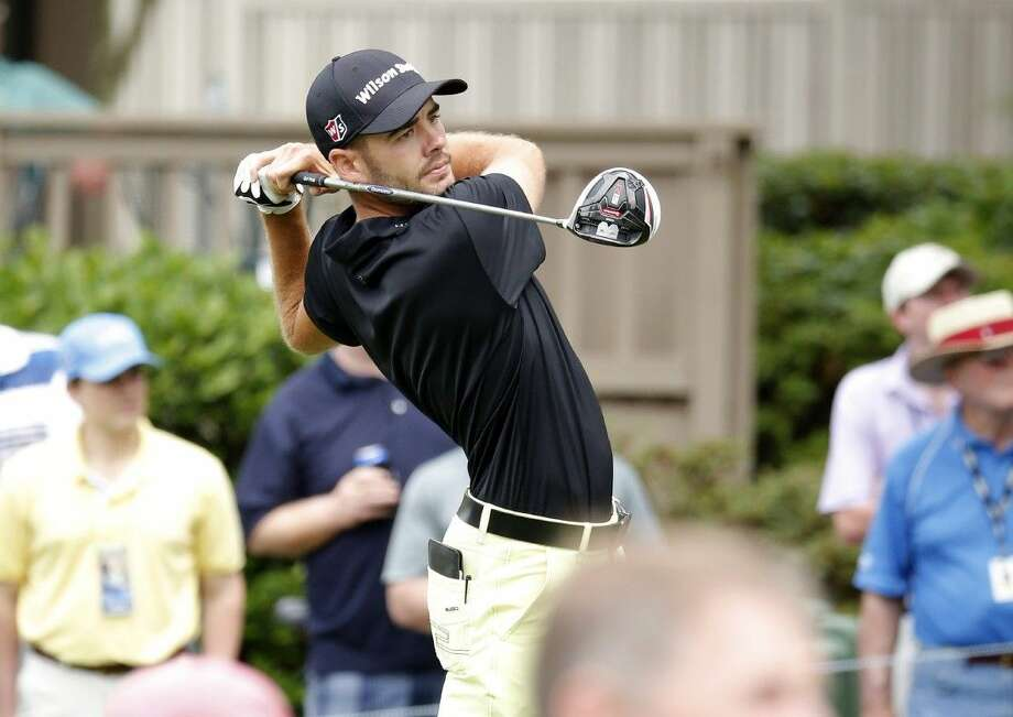 Troy Merritt watches his shot off the third tee during the third round of the RBC Heritage. Photo: Stephen B. Morton