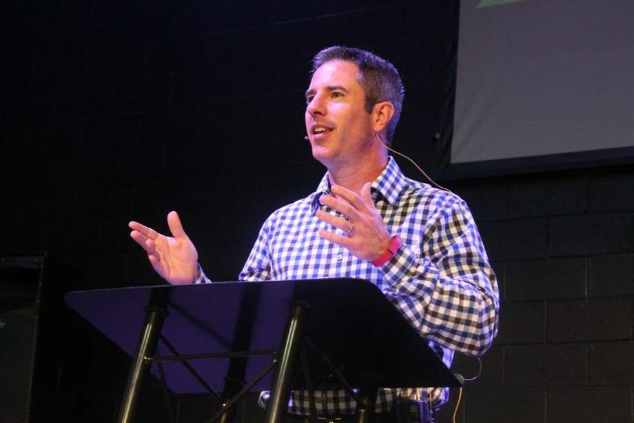 First Baptist Church of Conroe's new Senior Pastor Jeff Berger spoke at the Men's Power Lunch on Monday in the gym located at 600 North Main Street in Conroe.