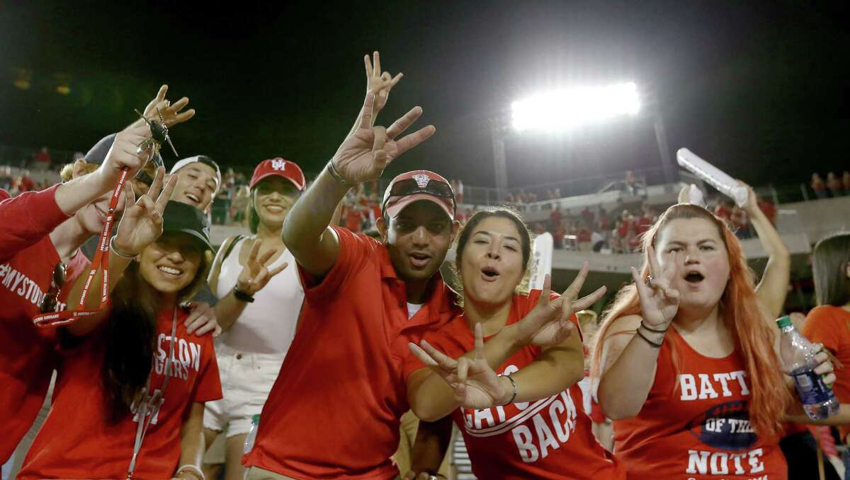 University of Houston fans cheering after the team defeated University of Connecticut at TDECU Stadium Thursday, Sept. 29, 2016, in Houston. The Cougars defeated the Huskies 42-14.