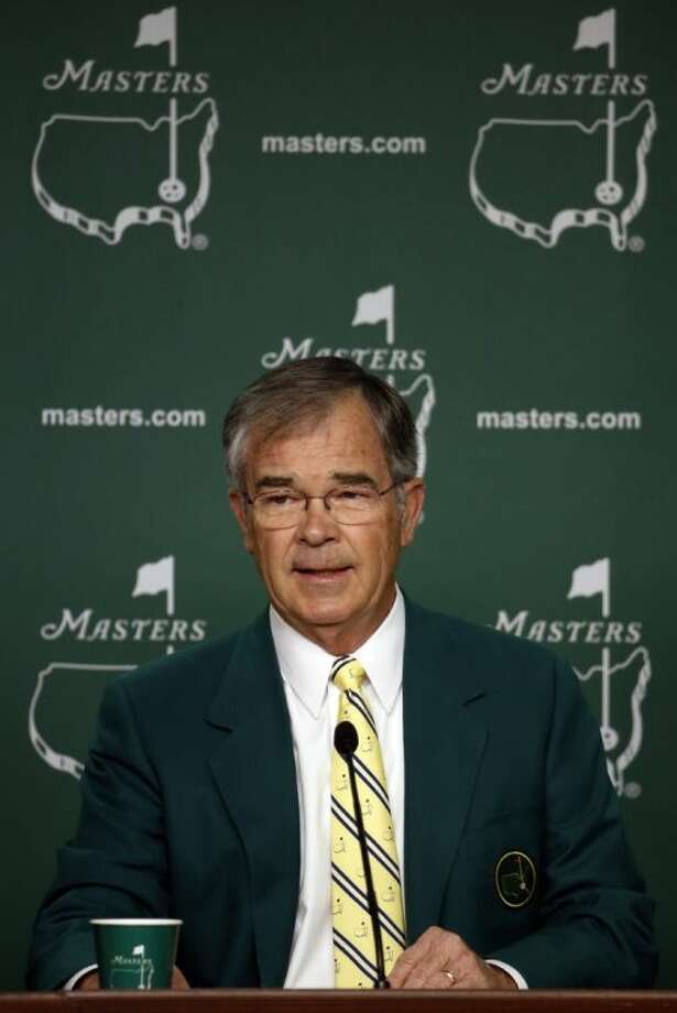 Billy Payne, chairman of Augusta National Golf Club, speaks during a press conference before the Masters on Wednesday in Augusta, Ga. Photo: Matt Slocum