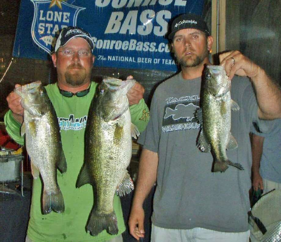 Billy Driggers and Jeff Randolph won the Conroe Bass Tuesday Night Tournament on April 1 with a stringer weight of 11.9 pounds.