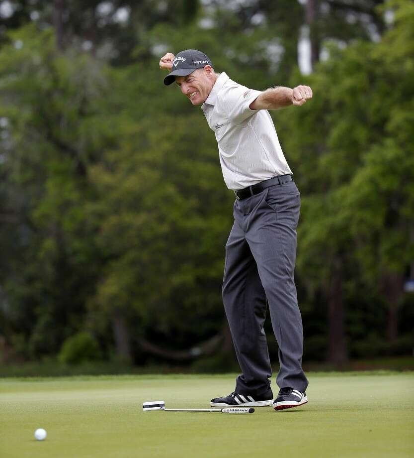Jim Furyk reacts to his winning putt at the RBC Heritage. Photo: Stephen B. Morton
