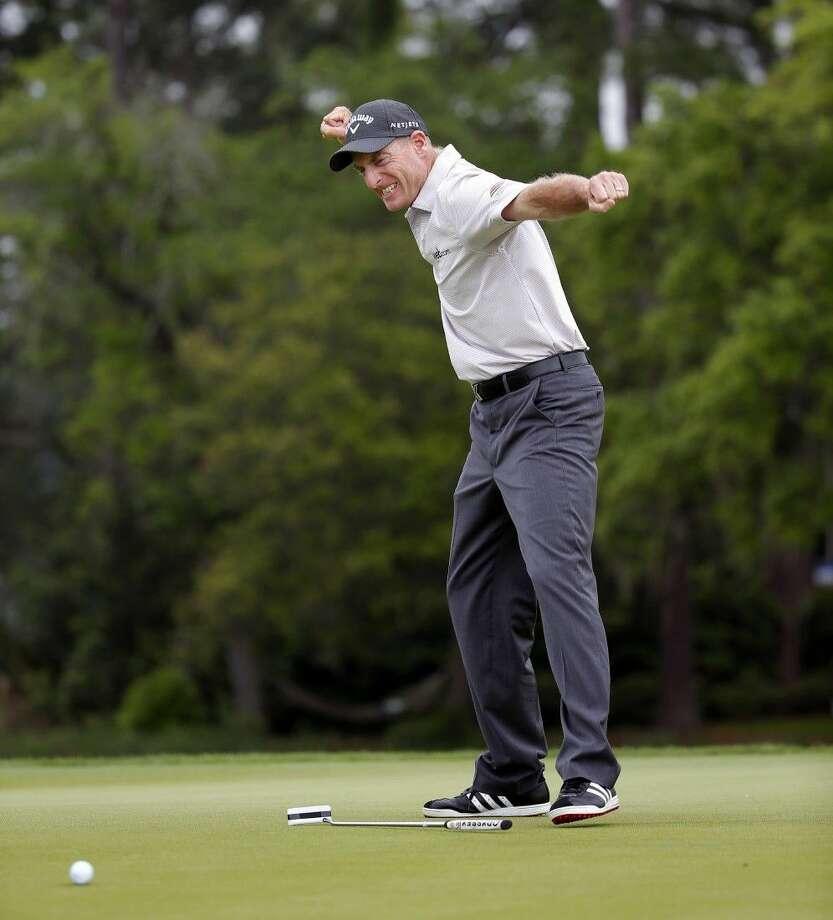 Jim Furyk reacts to his winning putt at the RBC Heritage. Photo: Stephen B. Morton