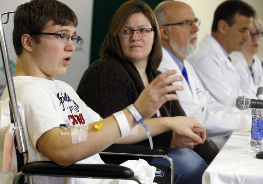 Brett Hurt, 16, a sophomore at Franklin Regional High School in Murrysville, Pa., and a victim in the stabbings that took place on April 9 at his high school, talks about the attack during a news conference at Forbes Regional Hospital, Thursday, April 10, 2014, in Monroeville, Pa. Authorities have charged Alex Hribal, 16, with four counts of attempted homicide and 21 counts of aggravated assault in the attacks. Photo: Keith Srakocic