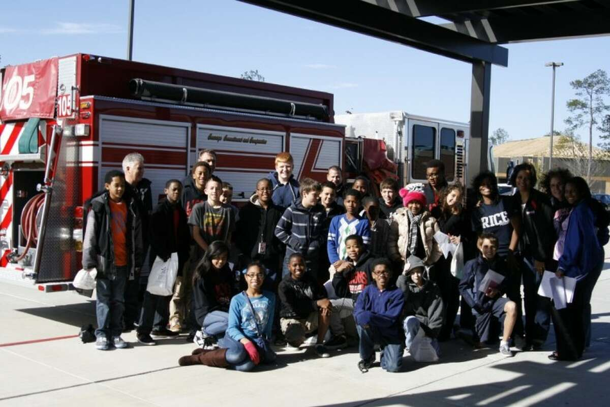 Woodcreek Middle School students had the chance to learn about the fire truck and daily duties of a firefighter with the Houston Fire Department during the school's Career Day Dec. 20.