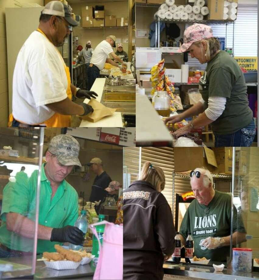Conroe Noon Lions Club members worked some 2,800 man hours last week at the Montgomery County Fair Grounds - flipping burgers, dipping chili, and serving up cold drinks. Pictured: (clockwise) top right, - Gail Cain, Mike Godsey, Michael Biesiada, and Pete Martinez.