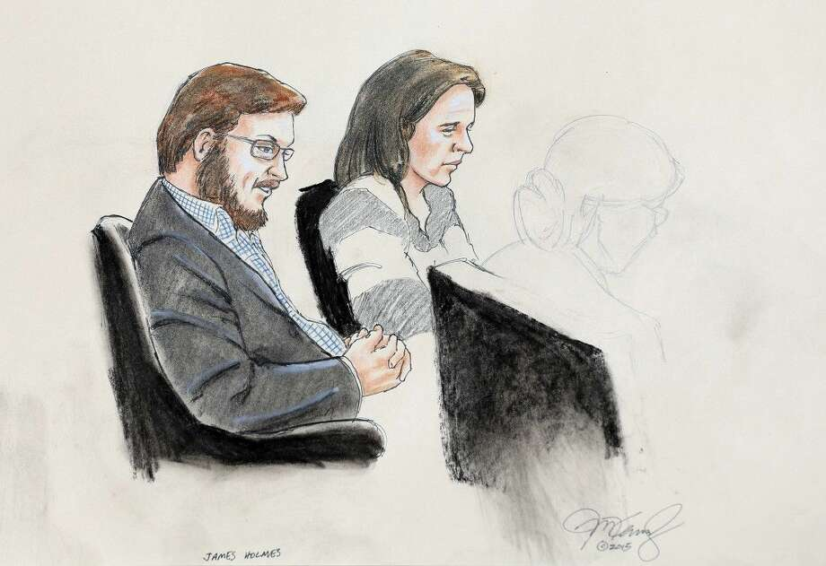 In this Jan. 20, 2015 courtroom file sketch, James Holmes, left, and defense attorney Tamara Brady are depicted, as they sit in court on the first day of jury selection in Holmes' trial, at the Arapahoe County Justice Center, in Centennial, Colo. Holmes trial starts today in the mass shooting in an Aurora, Colo., movie theater that left 12 dead and 70 wounded. Photo: Jeff Kandyba