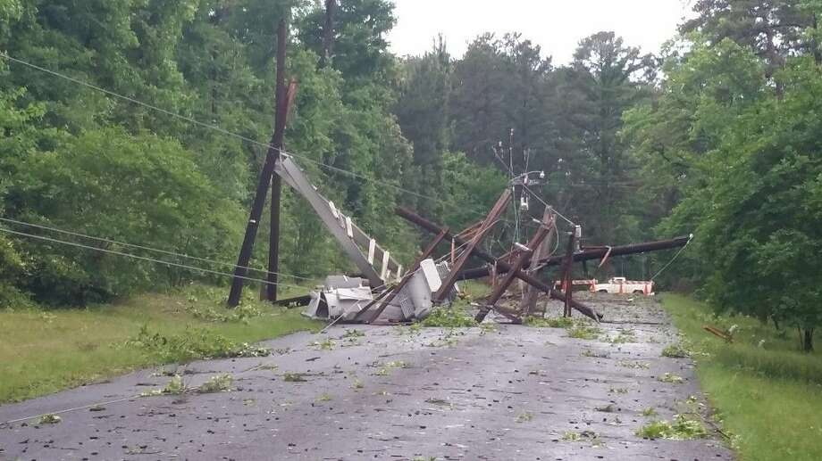 Entergy Texas is called out to damage in the Huntsville area after Monday morning's storms.