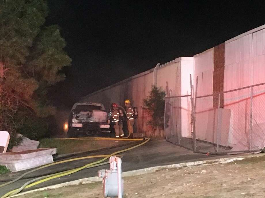 Conroe fire crews put out a truck fire Sunday night off Enterprise Row in Conroe, which was later found to be tied to a homicide and missing teenager investigation.