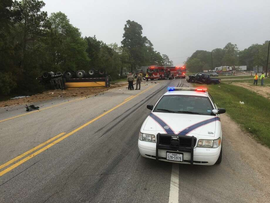 A three-vehicle crash has shut down a portion of Texas 105 East.