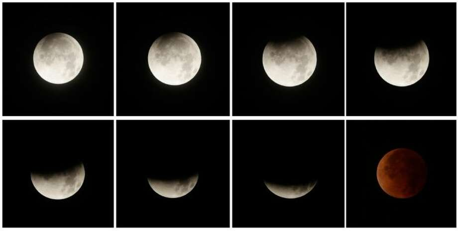 This eight picture combo shows a total lunar eclipse over Panama City, Panama, early Tuesday. Tuesday's eclipse is the first of four total lunar eclipses that will take place between 2014 to 2015.