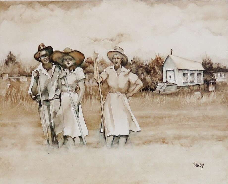 """A watercolor-on-aquaboard painting by Darby Kachmar titled """"Dry and Dusty."""" Inspired by the """"Dust Bowl Motel"""" play at the Crighton Theatre this weekend, the painting is currently on display at the Gallery at the Madeley Building."""