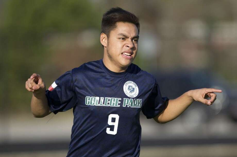 College Park's Rodrigo Perez celebrates the first of his two first-half goals Friday against Magnolia. To view or purchase this photo and others like it, visit HCNpics.com. Photo: Jason Fochtman