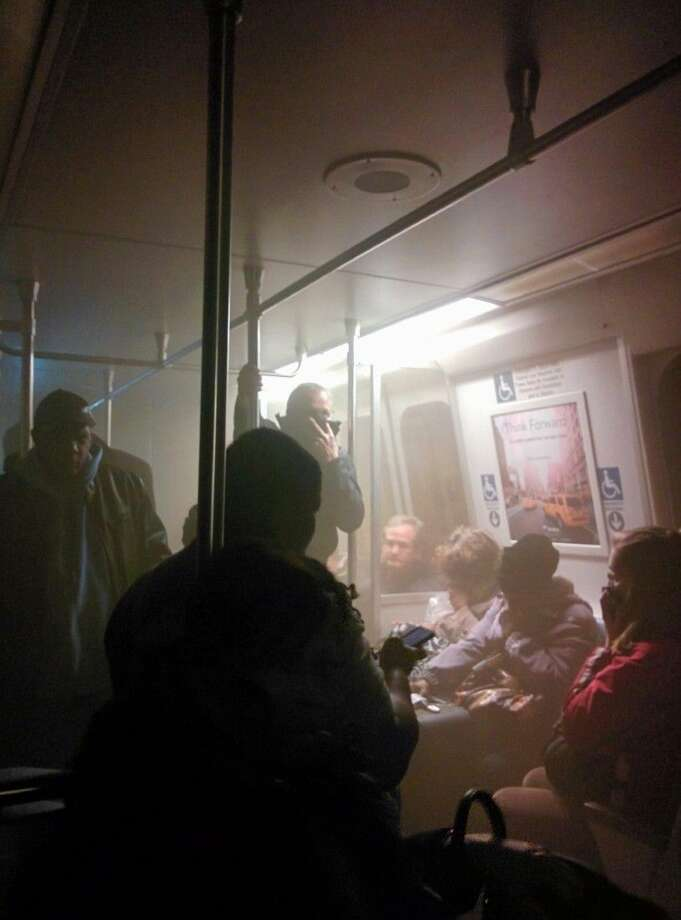 Smoke fills a Washington Metro system subway car near the L'Enfant Plaza station Monday. Photo: Andrew Litwin