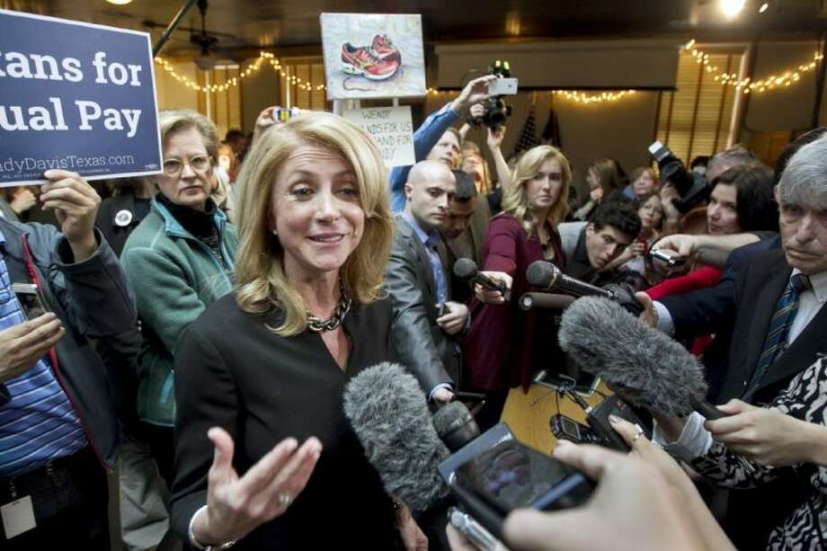 In this March 24 file photo, Texas Democratic gubernatorial candidate Wendy Davis speaks to supporters in Austin.