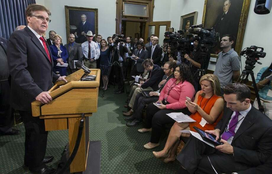Texas Lieutenant Gov. Dan Patrick speaks during a news conference Tuesday at the State Capitol in Austin.