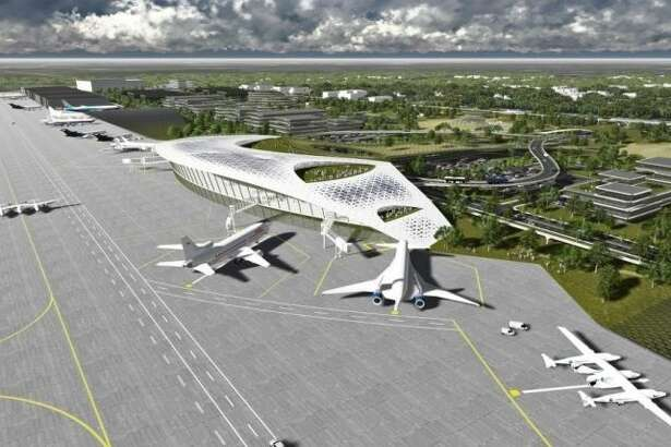 An artist's rendering of the vision for the Houston Spaceport at Ellington Airport.