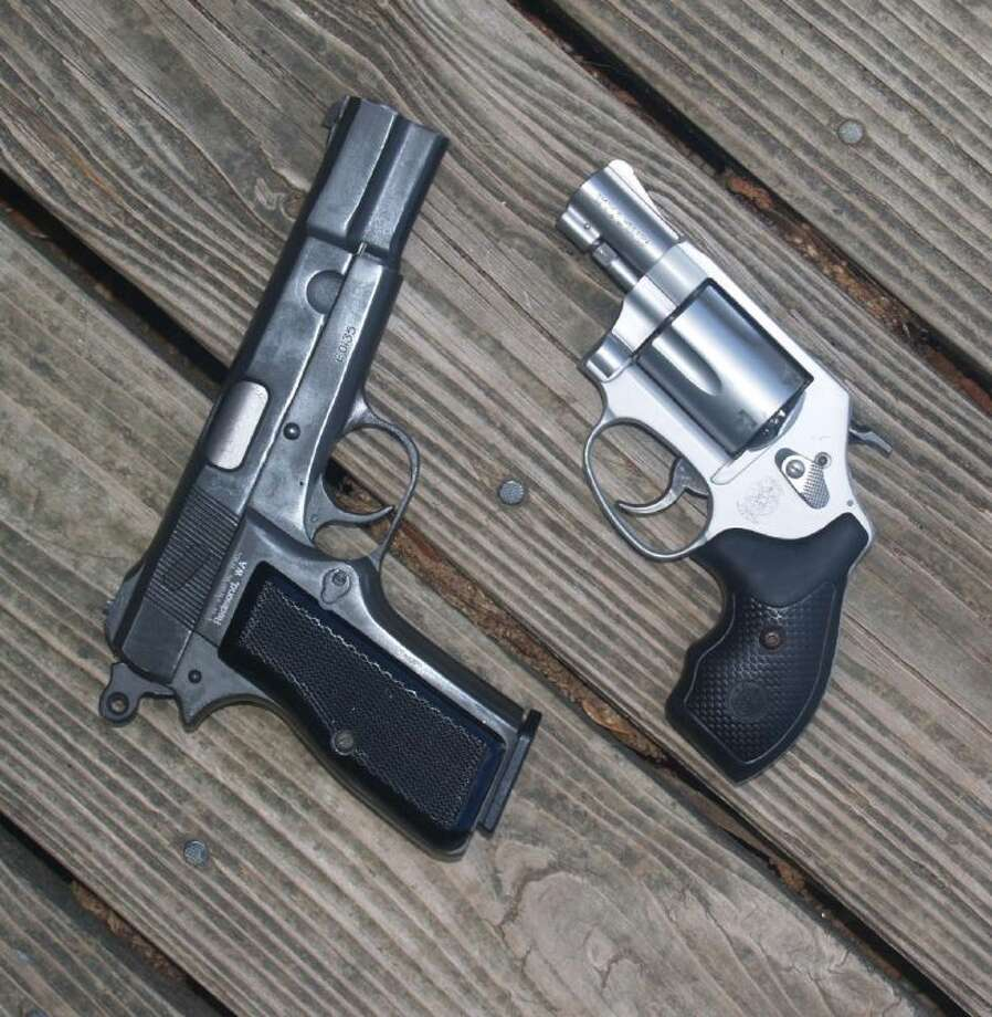 A 9 mm Browning hi power and .38 Special Smith and Wesson Model 637 are just two of many dependable handguns.