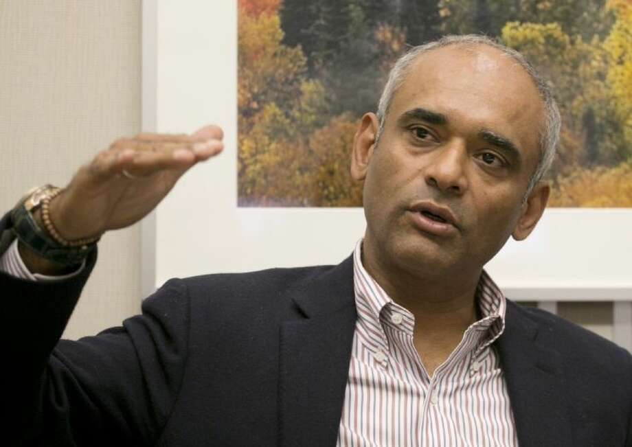 In this March 26 photo, Chet Kanojia, the founder and CEO of Aereo, speaks during an interview with The Associated Press, in New York.