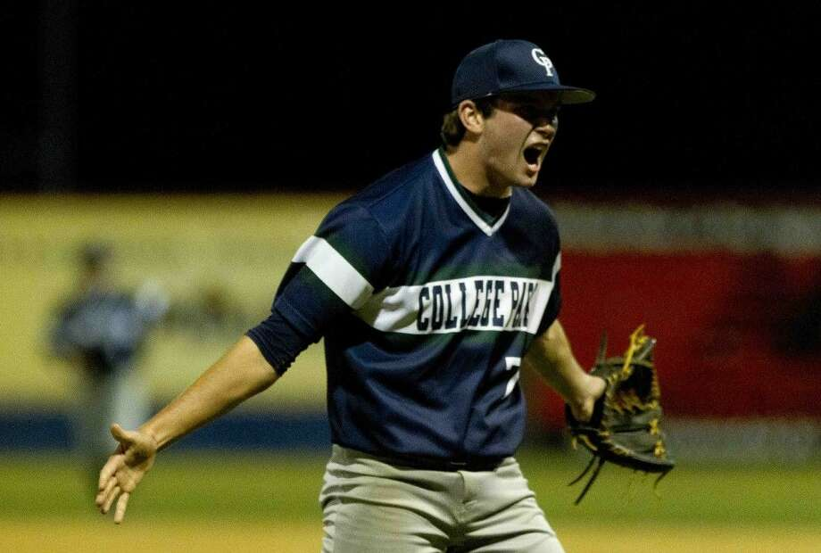 College Park pitcher Luke Trahan celebrates after striking out The Woodlands' Lex Trauffler in the seventh inning to give the Cavaliers a 2-1 win during a District 16-6A baseball game Tuesday. Go to HCNpics.com to purchase this photo and others like it. Photo: Jason Fochtman