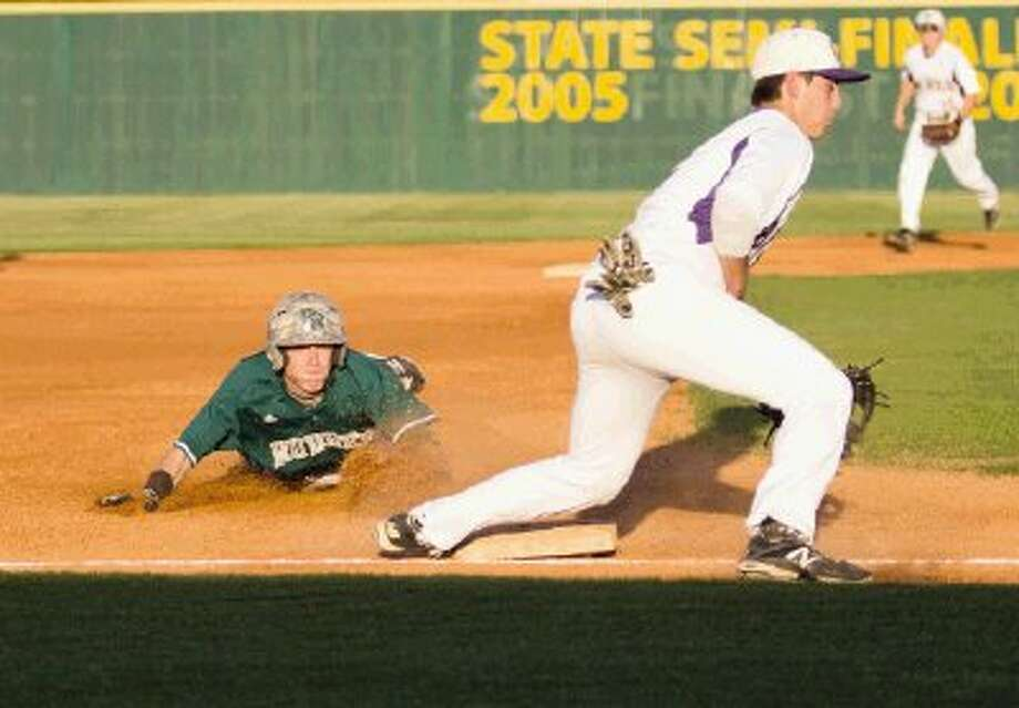 Rudder's Sean Arnold slides into third base as Montgomery's Brent Patane (4) misses the ball during a baseball game in Montgomery Tuesday. Rudder won 7-6. To view or purchase this photo and others like it, visit HCNpics.com. Photo: Staff Photo By Ana Ramirez / The Conroe Courier
