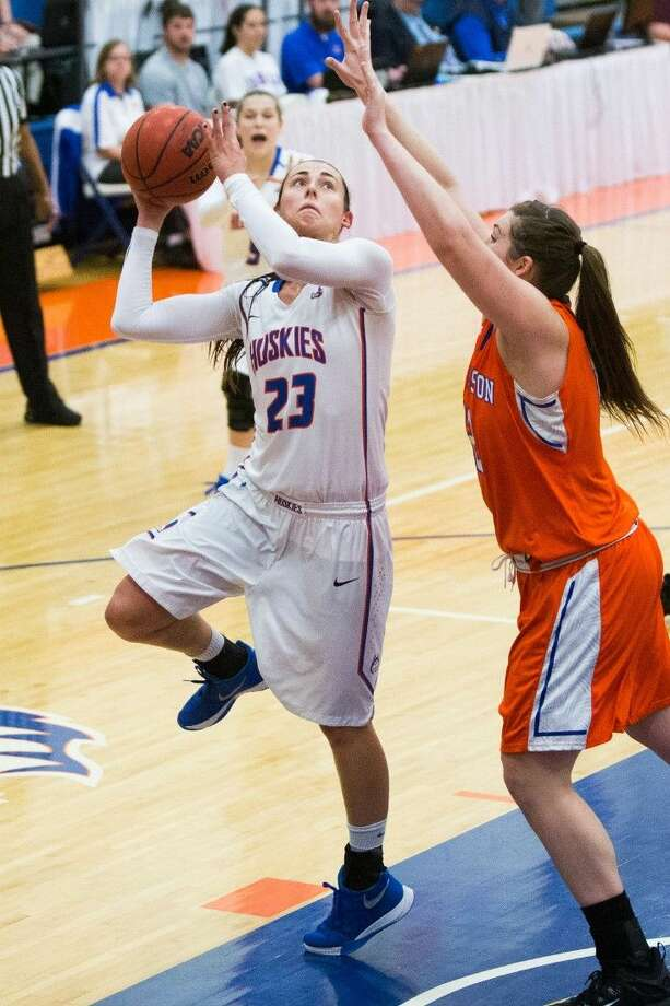 The Woodland graduate Anna Strickland (23) led Houston Baptist in scoring and rebounding during her senior season.
