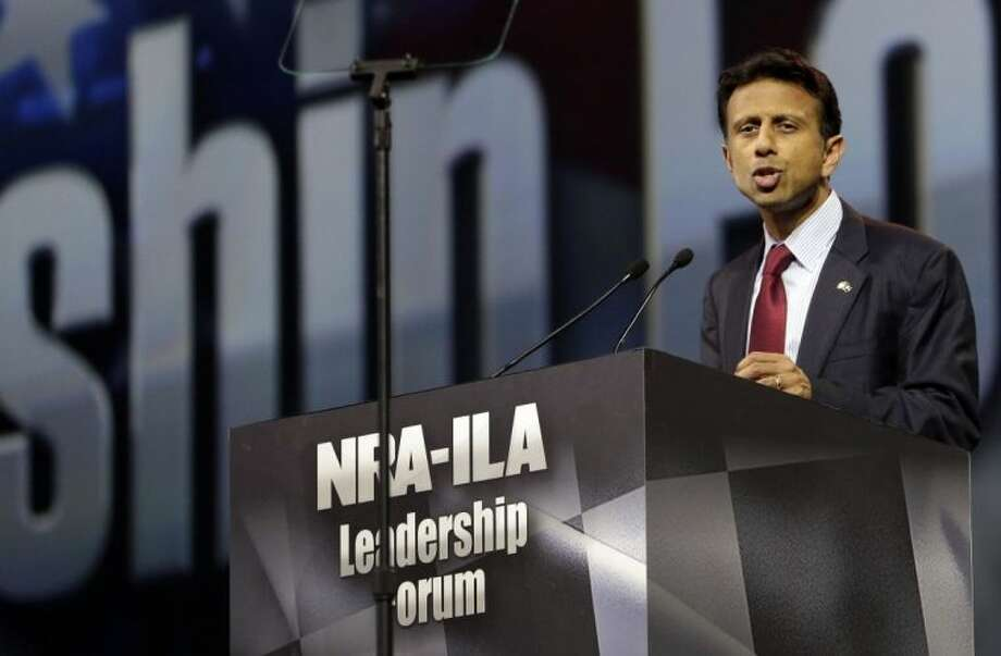 Louisiana Gov. Bobby Jindal speaks during the leadership forum at the National Rifle Association's annual convention in Indianapolis.