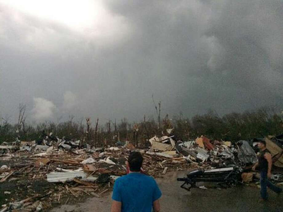 This photo provided by James Bryant shows tornado damage, Sunday, April 27, 2014 in Mayflower, Ark. A powerful storm system rumbled through the central and southern United States on Sunday, spawning several tornadoes, including one that killed two people in a small northeastern Oklahoma city and another that carved a path of destruction through several northern suburbs of Little Rock, Ark. Photo: James Bryant