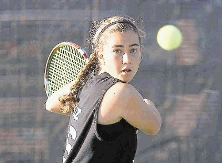 Montgomery's Valerie Ruiz, here competing in regional play, and teammate Erika Richarme fell in the Class 4A girls doubles state semifinals on Monday. Photo: Jason Fochtman / Conroe Courier / HCN
