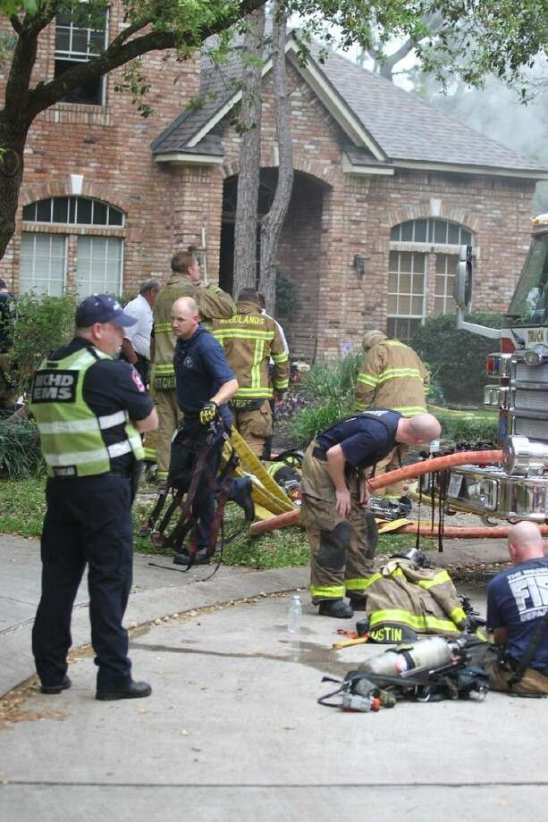 Multiple fire crews responded to a home fire in The Woodlands around 4:30 p.m. Tuesday off Empire Forest Place.