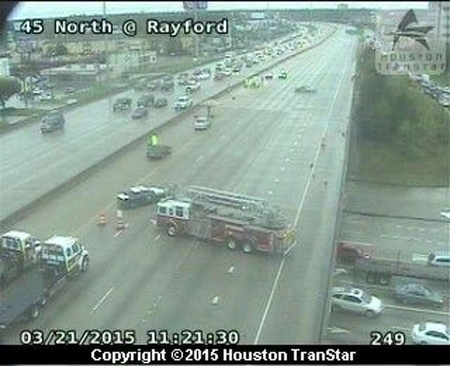 At least one person is dead as a result of a three-vehicle accident on Interstate 45 near Rayford, according to authorities.