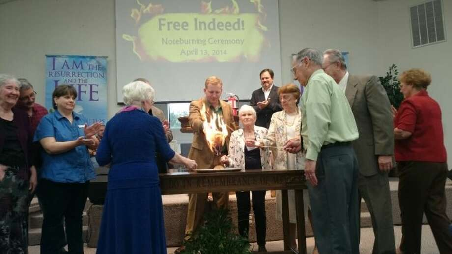 "RiverPointe Baptist Church in Conroe held a ""note-burning"" service in April and are celebrating that they are debt-free. Pastor Larry Strandberg attributes the pay-off to his members who are ""normal, faithful givers and to the blessings of the Lord."""