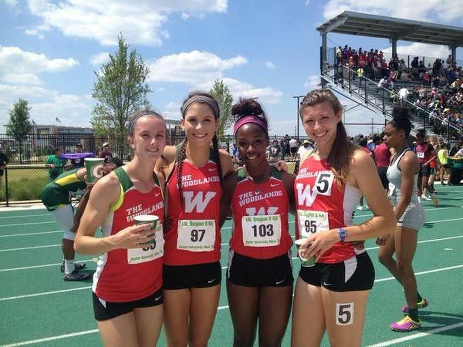 The Woodlands quartet of (from left) Ellyana Long, Alyssa Gillespie, Charity Thomas and Kendall Curzan won the girls 4x400-meter relay Saturday in Waco.