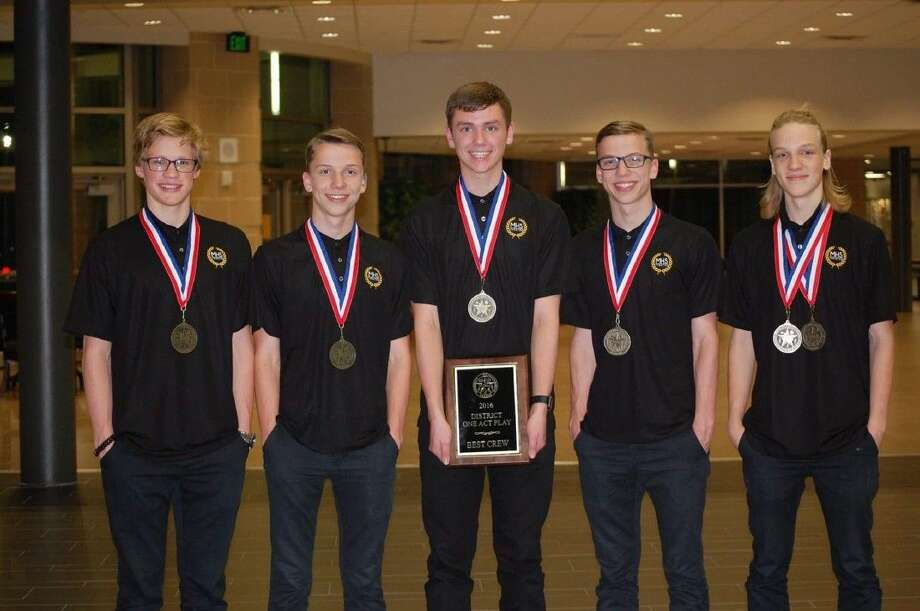 "Twins Hunter and Spencer Johnson and Dawson and Dillon Dickey along with Chris Clark won ""Best Crew"" at the 2016 UIL 15-6A One Act Play District Meet at Klein High School."