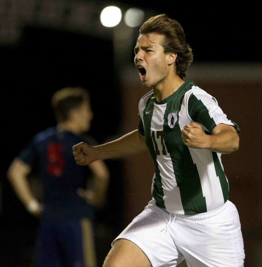 The Woodlands midfielder Juan Ulecia celebrates after scoring a goal at Woodforest Bank Stadium last Thursday. Photo: Jason Fochtman