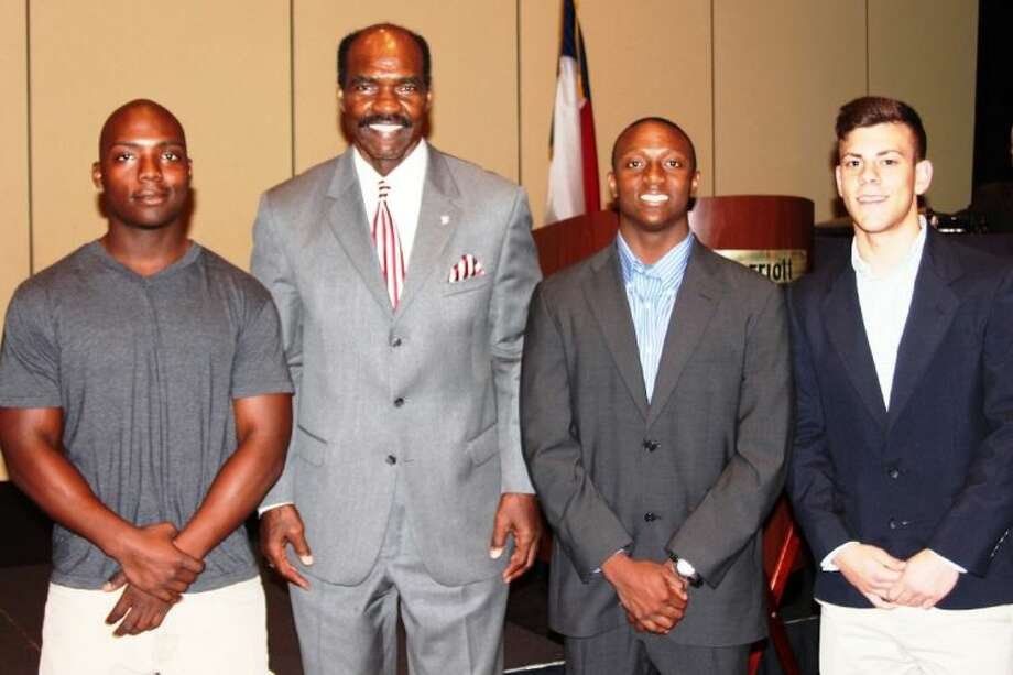 "Former Conroe ISD Board member Gerald Irons (second from left) poses with student athlete recipients of the scholarship underwritten in his name. Pictured are (left to right) Jayvon Jackson from The Woodlands College Park High School, Jonathan Voltaire from Oak Ridge High School, and Paul ""Trey"" Virgadamo III from Conroe High School."