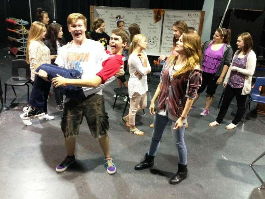 The Woodlands High School theater students rehearse for the upcoming Twilight Zone One Act competition.