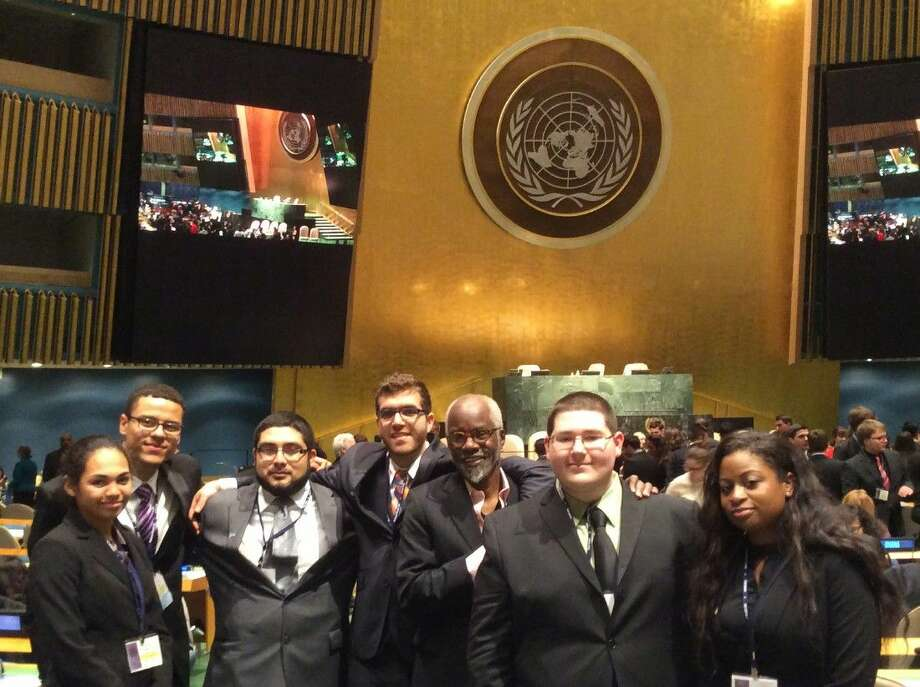 Students from the Lone Star College System pose at the Model UN competition in New York.