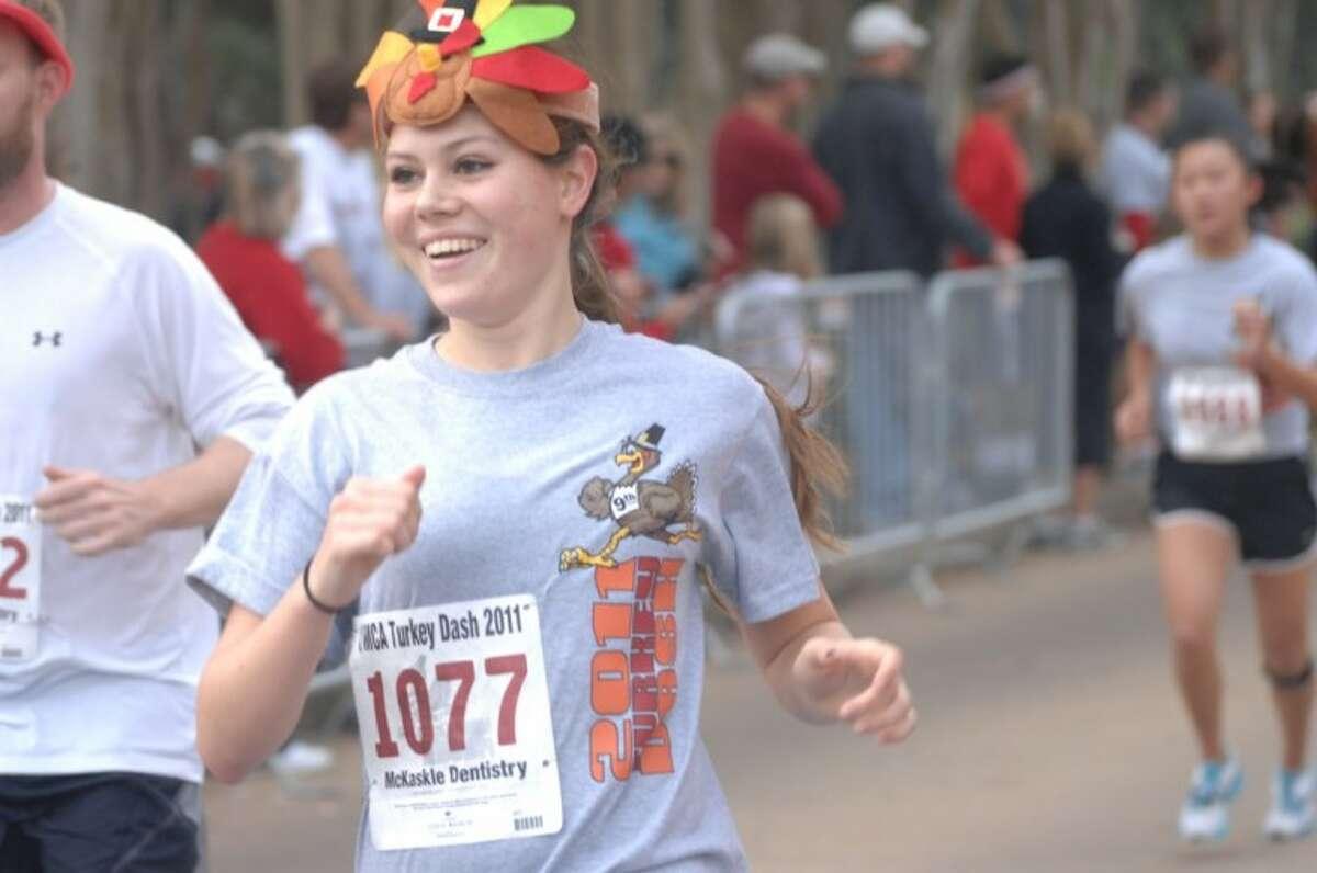 A runner gets in the Thanksgiving Day spirit during last year's Turkey Dash.