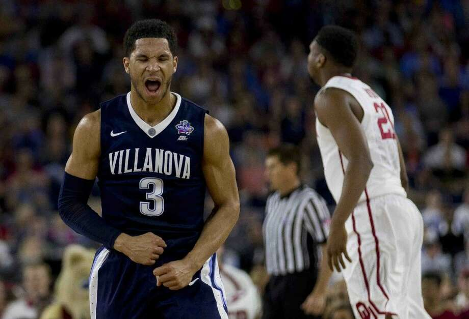 Villanova guard Josh Hart reacts after making a three-pointer during first half of an NCAA Final Four semifinal college basketball game Saturday, April 2, 2016, at NRG Stadium in Houston. Photo: Jason Fochtman